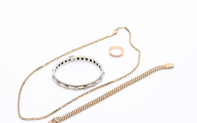 JEWELERY, four parts, 18k, gold, weight about 64. 3 grams, ring, necklace, bracelet.