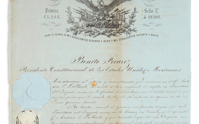 JUÁREZ, BENITO. Partly printed Document Signed, as President, appointing C. Antonio V. Gollardo Secretary of the minor court in the cit