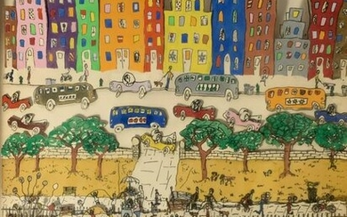 James Rizzi Pop Art Signed Dated 1977 City Scene