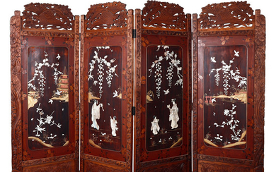 Japanese folding screen in wood, painted wood and mother of pearl inlays, 20th Century.