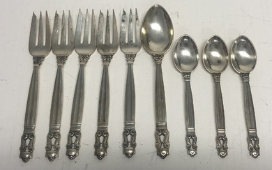 "Johan Rohde: ""Acorn"". Set of five sterling silver dessert forks, dessert spoon and three coffee spoons. Maker Georg Jensen after 1945. Weight app. 200 g. (9)"