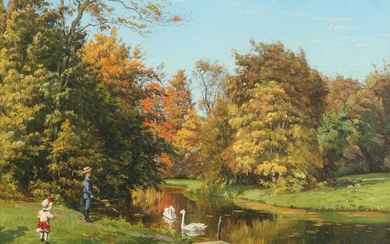 Johannes Boesen: Sunny day at the park with children playing. Signed and dated J. Boesen 188? Oil on canvas. 20.5×42.5 cm.