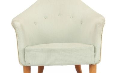 """Kerstin Hörlin-Holmquist: """"Lilla Adam"""". A pair of easy chairs with beech legs. Upholstered with mint green wool blend."""
