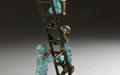 """""""Kids on a Ladder,"""" 20th/21st c., patinated bronze"""