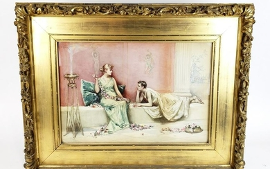 L9 Perris Signed Watercolor of Rome Décor, Dated 1890