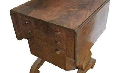 LATE CLASSICAL MAHOGANY DROP LEAF WORK TABLE W/ WRITING