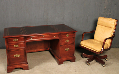 LEATHER EXECUTIVE DESK AND CHAIR