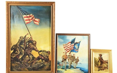 LOT OF 3: AMERICAN AND EUROPEAN MILITARY PAINTINGS.