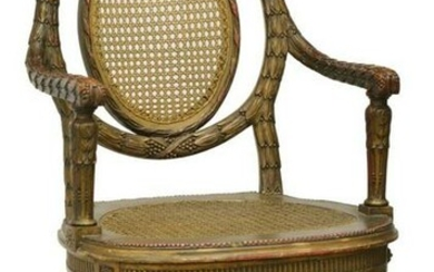 LOUIS XVI STYLE GILTWOOD CANE FAUTEUIL