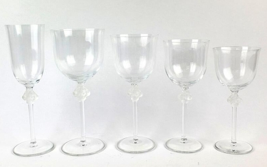 Lalique 65 Pc. Figural Wine Glasses Set