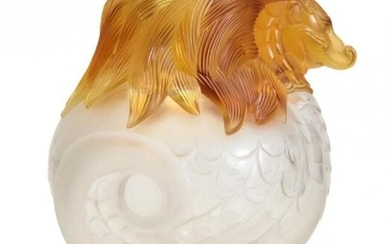 Lalique Imperial Dragon Vase Frosted Crystal & Amber