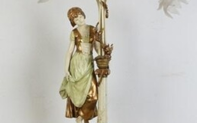 Large metal polychrome floor lamp with jardiniere and