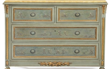 Louis XVI style chest of drawers in carved, lacquered