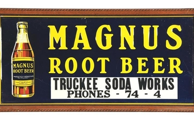 MAGNUS ROOT BEER EMBOSSED TIN SIGN W/ BOTTLE GRAPHIC &