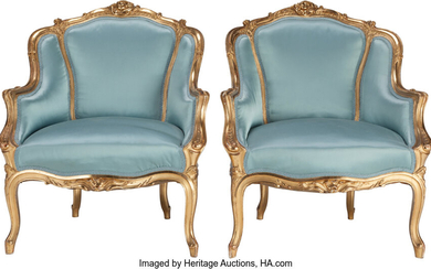 Maker unknown, A PAIR OF FRENCH LOUIS XV-STYLE UPHOLSTERED GILT WOOD BERGÈRES, (circa 1900)
