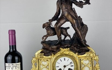 Mantel clock - Bronze (gilt/silvered/patinated/cold painted), Marble, Zamac - Late 19th century