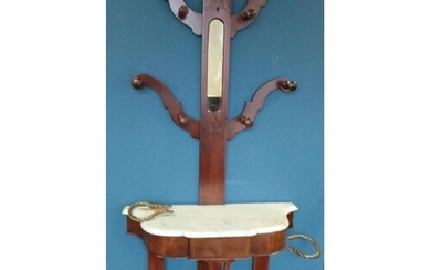 Marble Top Mahogany Hat and Coat Stand