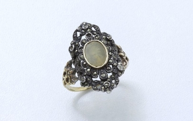Marquise ring in gold 750 and silver 800,...