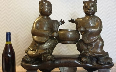 Mid-19th Asia: Rare and large bronze sculpture made in 3 elements - Bronze - China - XIX