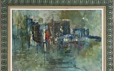 Mid-Century Modern Cityscape Abstract Oil/b Painting