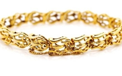 Mid century 9ct yellow gold bracelet with open scroll work l...
