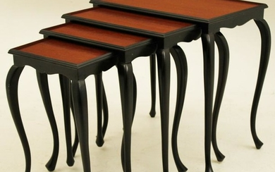 NEST OF 4 BLACK LACQUERED QUEEN ANNE STYLE TABLES