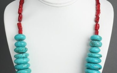 Native American Indian Turquoise & Coral Necklace