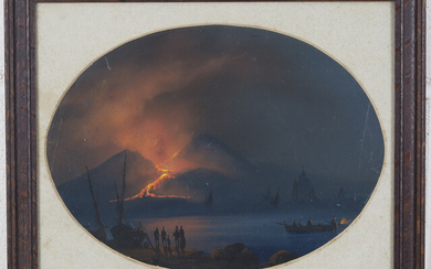 Neapolitan School - 'View of Vesuvius taken from Naples during the Eruption of 1868', 19th