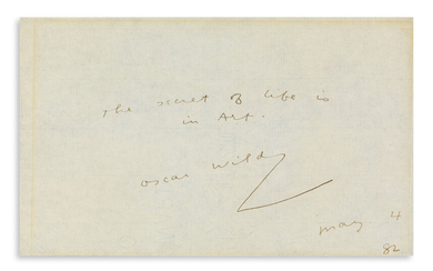OSCAR WILDE (1854 1900) Autograph Quotation dated and Signed