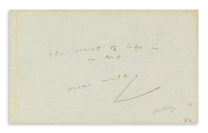 OSCAR WILDE (1854-1900) Autograph Quotation dated and
