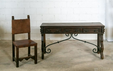 Old Spanish Colonial Revival Foyer Table & Chair