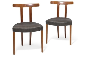 "Ole Wanscher: ""T-Chair"". A pair of mahogany chairs. Seat upholstered with black/brown horsehair with black leather edgings. Made by A.J. Iversen. (2)"