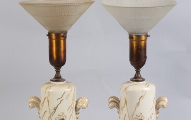 PAIR 1950S FRENCH CYLINDRICAL PORCELAIN TABLE LAMPS WITH MATCHING ORNAMENTAL...