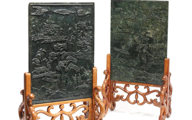 PAIR CHINESE ANTIQUE CARVED JADE PLAQUES