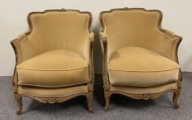 PAIR FRENCH LOUIS XV STYLE BERGERE CHAIRS
