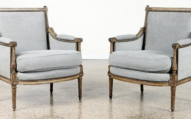 PAIR LOUIS XVI STYLE LIBRARY CHAIRS C. 1910