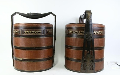 PAIR OF ANTIQUE CHINESE LACQUERED WEDDING BASKETS