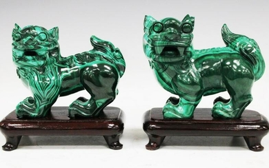 PAIR OF CHINESE MALACHITE FIGURAL LIONS