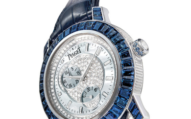 PIAGET. A RARE, FINE AND ATTRACTIVE 18K WHITE GOLD, SAPPHIRE AND DIAMOND-SET AUTOMATIC WRISTWATCH WITH POWER RESERVE AND MOTHER-OF-PEARL DIAL, SIGNED PIAGET, AUTOMATIQUE, REF. P10144, CASE NO. 906'082, CIRCA 2000