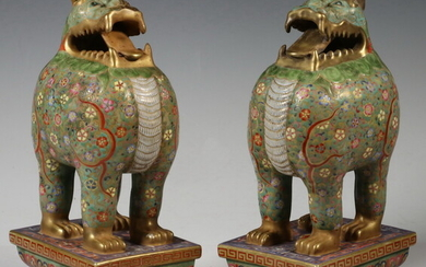 PR CHINESE CLOISONNE ENAMELED PORCELAIN FOO DOGS