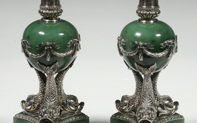 PR RUSSIAN SILVER AND NEPHRITE CANDLEHOLDERS