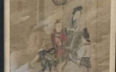 Painting on silk: Characters and chimeras in clouds with signature and stamp.