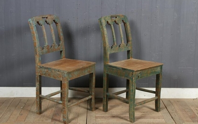 Pair 19th C Continental Carved and Painted Chairs