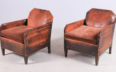 Pair Custom leather and upholstered lounge chairs