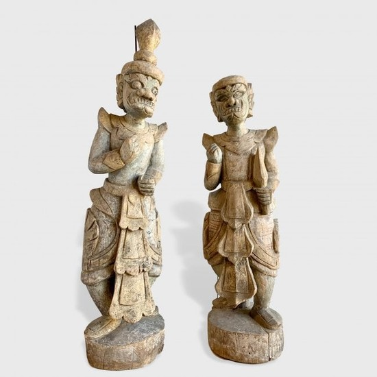 Pair Of Early Barong Dancer Sculptures, Indonesia