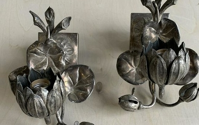 Pair Of Silver Plate Wall Sconces