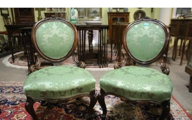 Pair of 19th Century Carved Mahogany Salon Chairs