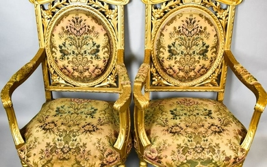 Pair of Antique Louis XVI Style Arm Chairs
