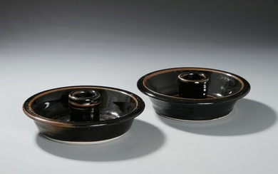 Pair of Chinese Black Glazed Candle Holders