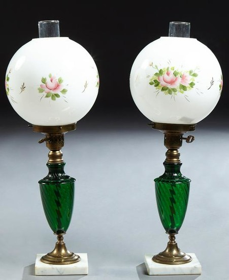 Pair of Emerald Green Glass and Brass Lamps, 20th c.